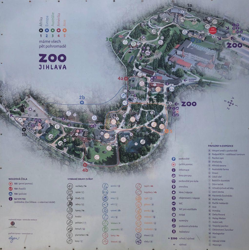 Jihlavská ZOO, plánek zoologické zahrady v Jihlavě, umístění jednotlivých zvířat